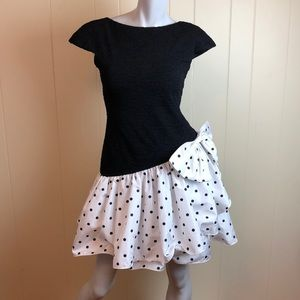 Vintage 80s/90s Black White Polka Dot Party Dress